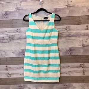 Just Taylor Preppy White Blue Striped Dress